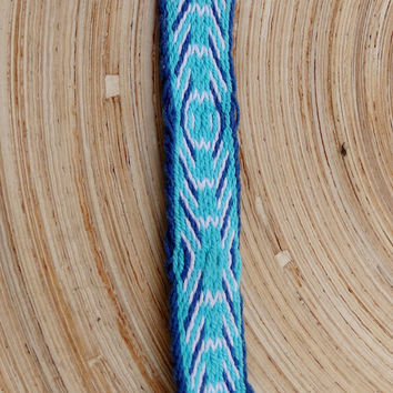 friendship bracelet, card weaving colorful blue white woven bracelet, weave tribal women men wrist band, boho jewelry, jewellery, bangle
