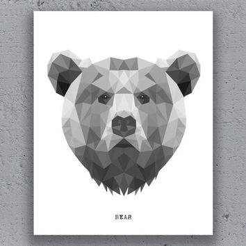 Bear print printable poster geometric print wildlife black white polygon animal art retro art print instant