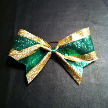 Sparkly green & gold 3 inch spirit competition by 2girls2Tus