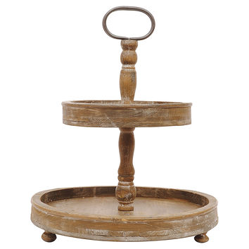 2-Tier Wooden Tray, Cake Stands & Tiered Trays