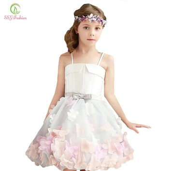 SSYFashion 2017 New Sweet Flower Girl Dresses for Wedding The Children Party Gown Straps A-line Short Photography Dress Custom