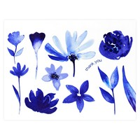 Indigo Watercolor Florals Folded Thank You Card