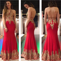 2017 Red Mermaid Prom Dresses Long vestido de festa Sexy Backless Party Dress robe de bal Appliqued Evening Gowns Sleeveless