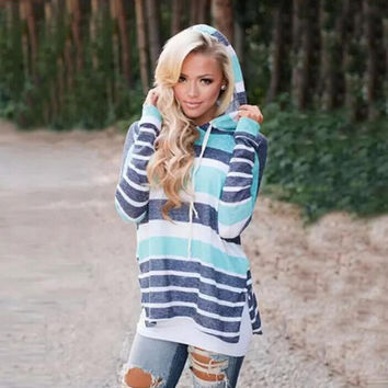 Loose Patchwork Striped Hooded T-Shirt 13374