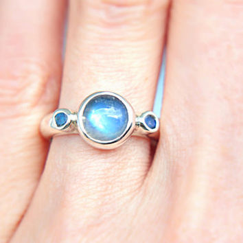 Blue Moonstone Ring Sterling Silver Moonstone Engagement Ring Three Stone Ring Triple Promise Ring Silversmithed Metalsmithed