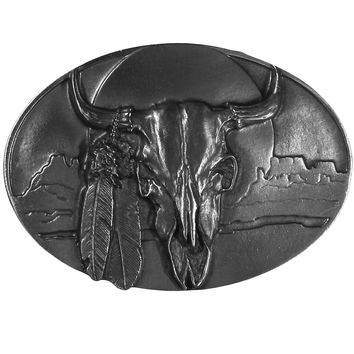Buffalo Skull/Feathers Antiqued Belt Buckle