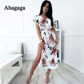 Ahagaga Summer Floral Print Loose Dress Women Fashion Sexy Club V-neck Regular Casual Bodycon Dress Women Dresses Vestidos