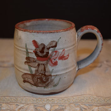 Owens Pottery Rabbit Cup Vintage Owens Seagrove NC Made in USA Pottery Mug Hand Painted Hare Rabbit Bunny Coffee Mug Clay Pottery