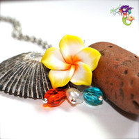 Yellow Plumeria Necklace - Hawaiian jewelry by Mermaid Tears Hawaii for beach brides & island weddings