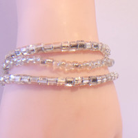 Clear Beaded Bracelets Handmade Jewelry Icy Glass Fashion Accessories For Her