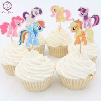 My Little Pony Horse Cupcake Topper Picks | Girls Party Decorations | Cartoon Party Favors