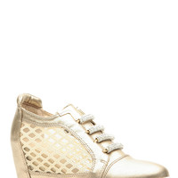 Gold Faux Leather Low Top Sneaker Wedges