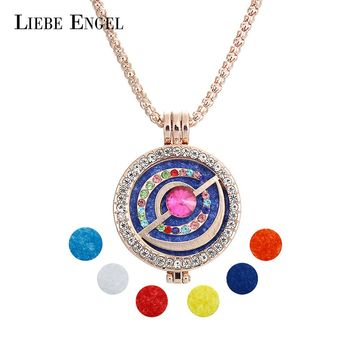 LIEBE ENGEL Lovely Aroma Jewelry Diffuser Necklace Locket Charm Long Sweater Chain Crystal Pendant Necklace Essential Oils Women