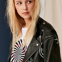 UO Design X Urban Renewal Vintage Painted White Icons Leather Jacket - Urban Outfitters