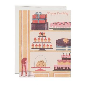 RED CAP CARDS CAKE WINDOW CARD