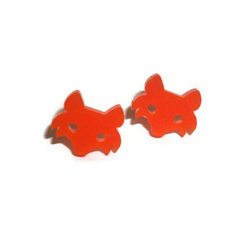 Orange Fox Earrings, Cute Kawaii Fox Face Laser Cut Dainty Tiny Animal Stud Earrings