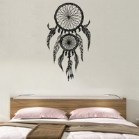 Dreamcatcher Dream Catcher Feathers Wall Vinyl Decal Art Sticker Home Modern Stylish Interior Decor for Any Room Smooth and Flat Surfaces Housewares Murals Graphic Bedroom Living Room (2515)