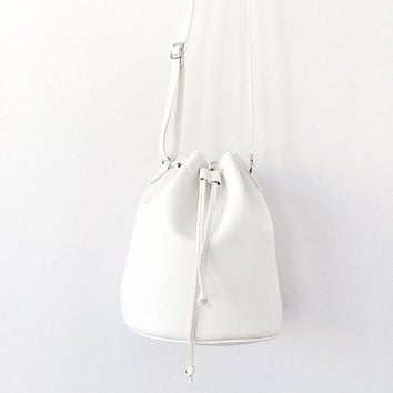 White Leather Bucket Bag Faux Leather Handbag Hologram Messenger Holographic Shoulder Cross Body Travel Bag