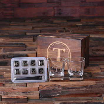 Personalized Whiskey Scotch Glasses 8 Ice-Cubs with Wood Box