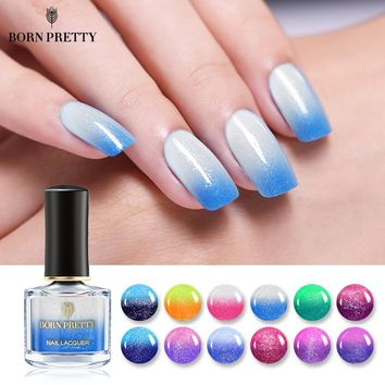BORN PRETTY Thermal Nail Polish 6ml Temperature Color Changing Varnish Lacquer Shimmer Colorful Nail Art Polish Liquid