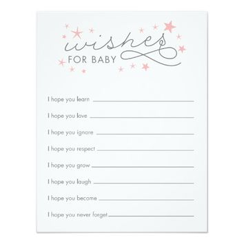 Wishes for Baby Star Baby Shower Game Card