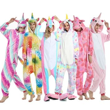2018 Winter Animal Pajamas Stitch Sleepwear Unicorn Pajamas Onesuit Sets Kigurumi Women Men Unisex Adult Flannel Nightie overalls