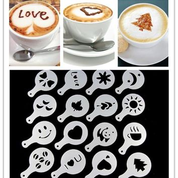16pcs/set Coffee Latte Cappuccino Barista Art Stencils / Cake Duster Templates Coffee Tools Accessories