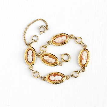 Vintage 12k Yellow Gold Filled Cameo Bracelet - Retro 1940s 1950s Carved Genuine Shell Female Lady Oval Linked Panel Classic Jewelry