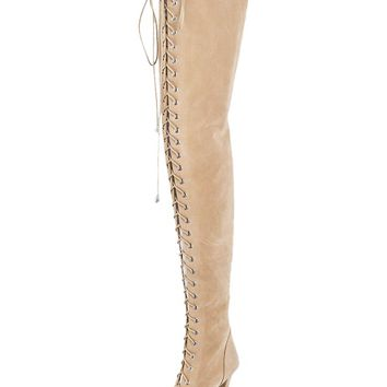 Indie Designs Over The Knee Lace-Up Peep Toe Boots