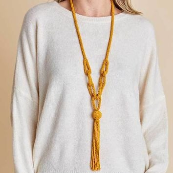 Yellow Beaded Tassel Necklace