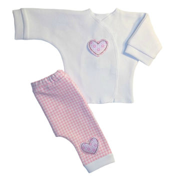 Baby Girls' Pink Gingham and Hearts Pants Clothing Outfit
