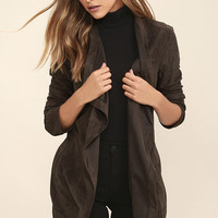 Found a Love Charcoal Grey Suede Jacket