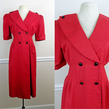 Vintage 70s 80s Red Office Suit Dress // Button Up and Wrap Around // Straight Skirt // Small Medium