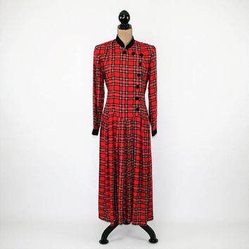 Red Plaid Dress Womens Long Sleeve Drop Waist Rayon 90s Grunge Dress Winter Christmas Tartan Black Velvet Medium Womens Vintage Clothing