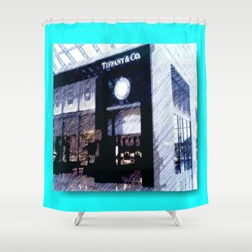 Return to Tiffany- pencil  Shower Curtain by Jessica Ivy