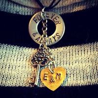 Forever & Always Hand Stamped necklace with Key and Brass Heart