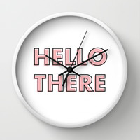 Hello There Wall Clock by Nicole Davis