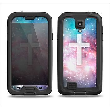 The Vector White Cross v2 over Colorful Neon Space Nebula Samsung Galaxy S4 LifeProof Fre Case Skin Set