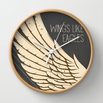Isaiah 40:31 Wings like Eagles Wall Clock by Pocket Fuel