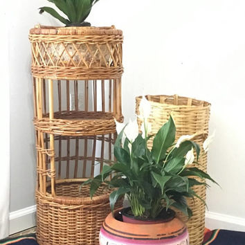 Tall 3 Shelf Wicker Storage Shelf, Retro Bamboo Planter, Round Rattan Plant Basket,Mid Century Rattan Side Table, Bamboo Furniture