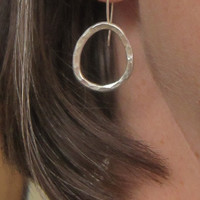 Silver Hoop Dangle Earrings, Hammered Jewelry, Recycled Silver