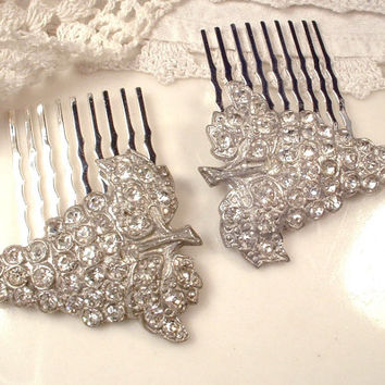 PAIR Art Deco Rhinestone Bridal Hair Combs, 1920s Flapper Gatsby Small Vintage Heirloom Pave Crystal Fur Clip / OOAK Headpiece Great Gatsby