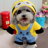 Winter Pet Dog Clothes Yellow Minions Costume Dog Hoodies Cheap Small Dog Coat Jacket Lovely Dog Cat Outfit for Chihuahua 25