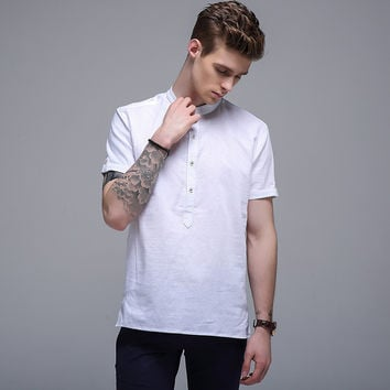 Summer Cotton Linen Short Sleeve Men Print Slim Casual Shirt Blouse [6543992707]