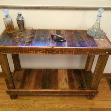 Reclaimed Pallet Wood Table Bar Kitchen Island Includes USA Shipping