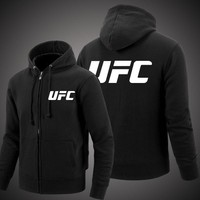 Spring and Autumn MMA UFC Clothes Zipper Hooded Men Fashion Hooded Fleece  Cardigan Hoodies Casual Coat Tops