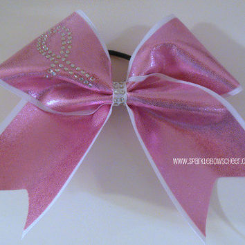 Rhinestone Breast Cancer Large Cheer Bow Hair by SparkleBowsCheer