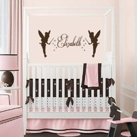 Housewares Vinyl Decal Custom Personal Name with Tinkerbells Home Wall Art Decor Removable Stylish Sticker Mural Unique Design for Baby Girl Nursery Room