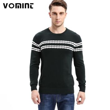 Vomint 2017 Men's Knitted Sweater Patterns Striped thick Pullover Sweaters Winter casual Round neck Cotton Sweater men P6VI6A91