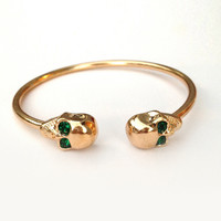 Emerald Green Skull Bangle